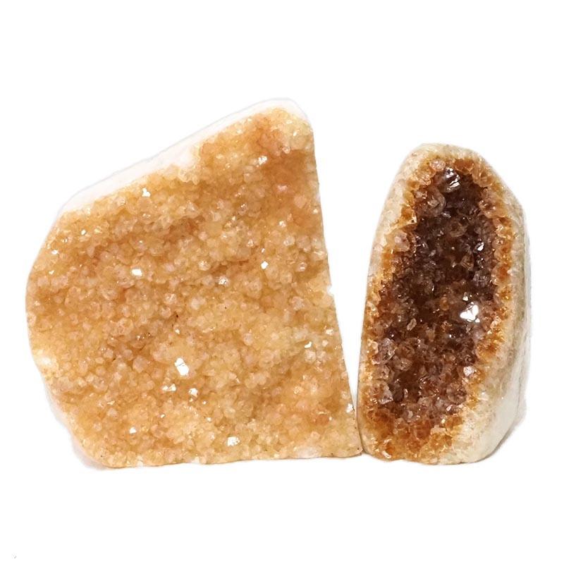 2kg Citrine Polished Crystal Geode Specimen Set 2 Pieces DN200