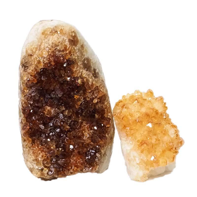 2.75kg Citrine Polished Crystal Geode Specimen Set 2 Pieces DN201
