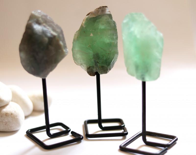 Three Fluorite mineral stands  AHA 1037