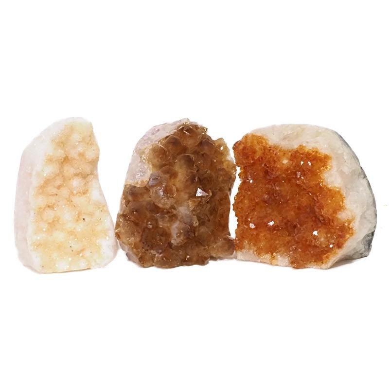 2.04kg Citrine Polished Crystal Geode Specimen Set 3 Pieces DN218