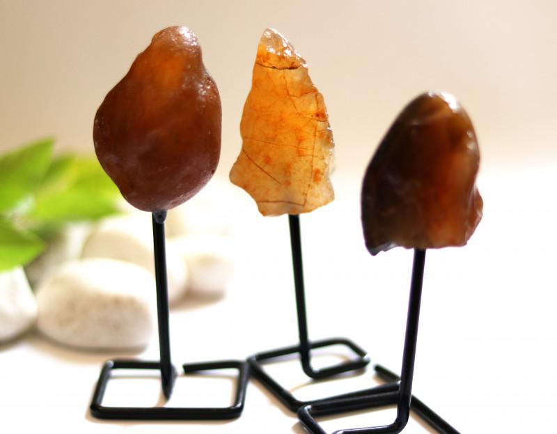 Three Agate mineral stands  AHA 1041