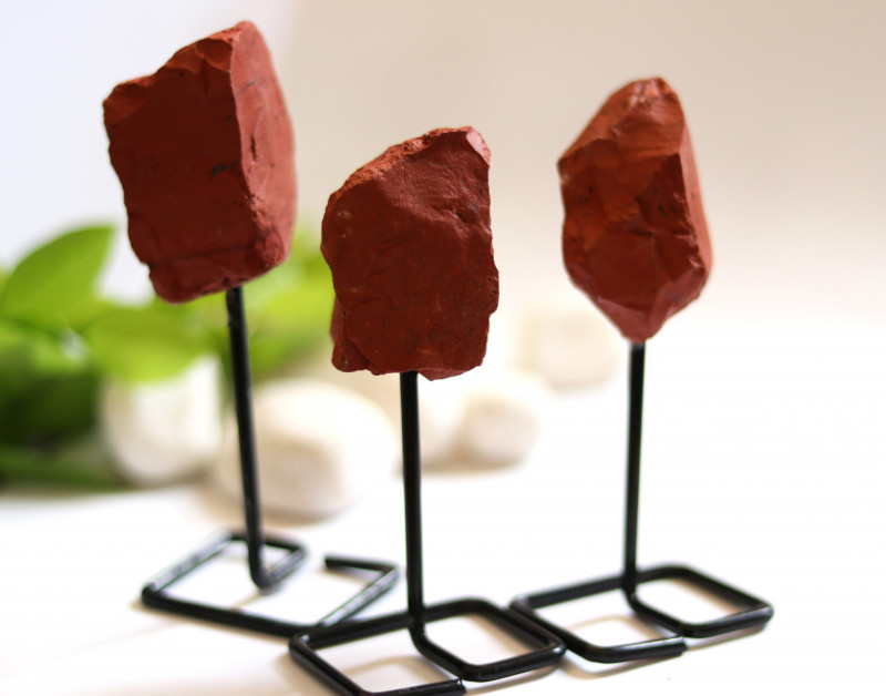 Three Red Agate mineral stands  AHA 1042