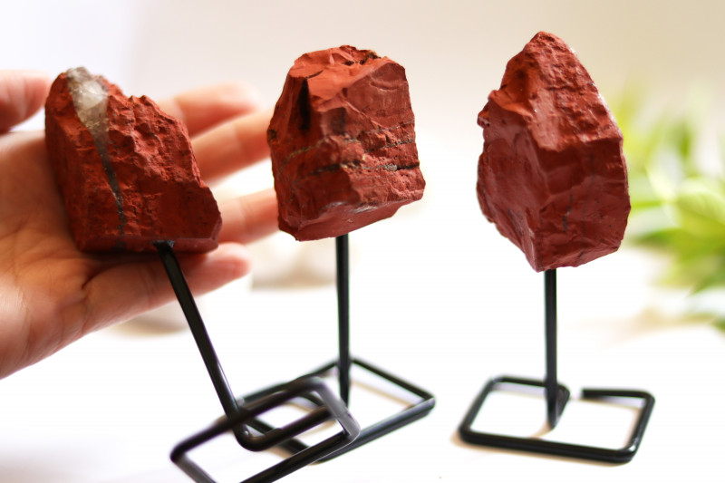 Three Red Agate mineral stands  AHA 1043