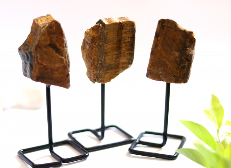 Three Tiger Eye mineral stands  AHA 1044