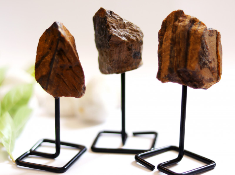Three Tiger Eye mineral stands  AHA 1045