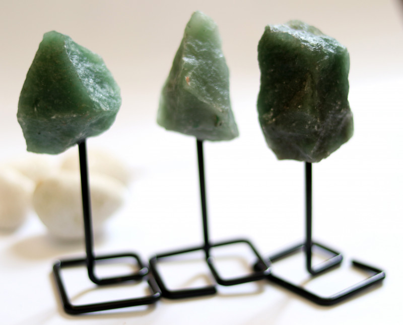 Three Moss Agate mineral stands  AHA 1049