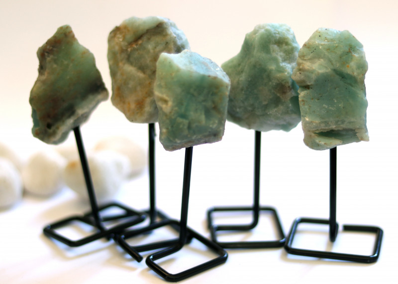 Five Amazonite mineral stands  AHA 1050