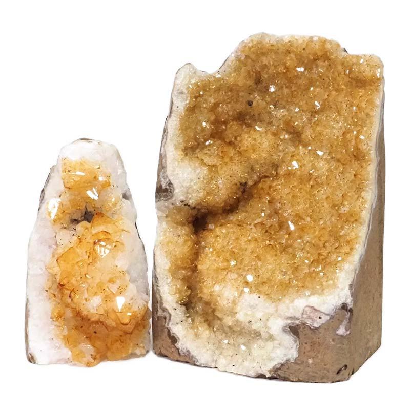 2.37kg Citrine Crystal Geode Specimen Set 2 Pieces DN225