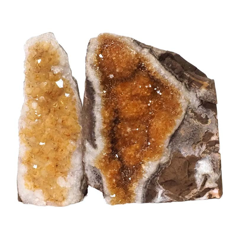 2.24kg Citrine Crystal Geode Specimen Set 2 Pieces DN227