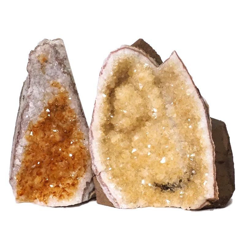 1.67kg Citrine Crystal Geode Specimen Set 2 Pieces DN229