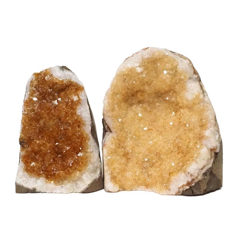 1.78kg Citrine Crystal Geode Specimen Set 2 Pieces DN231