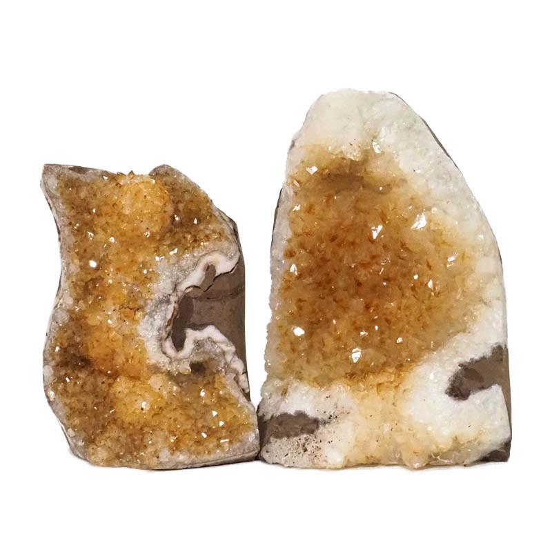 1.85kg Citrine Crystal Geode Specimen Set 2 Pieces DN233