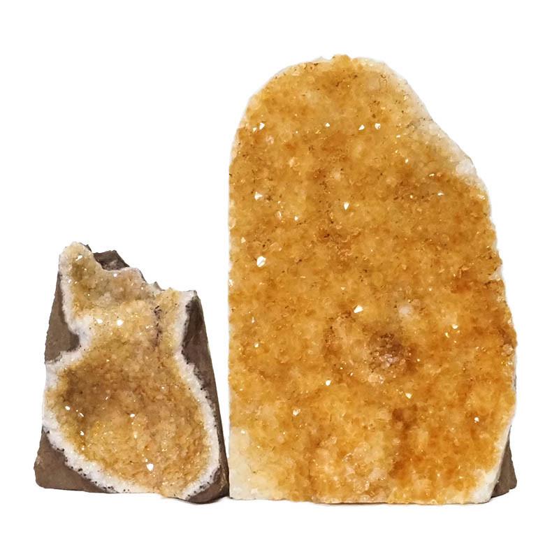 2.04kg Citrine Crystal Geode Specimen Set 2 Pieces DN237