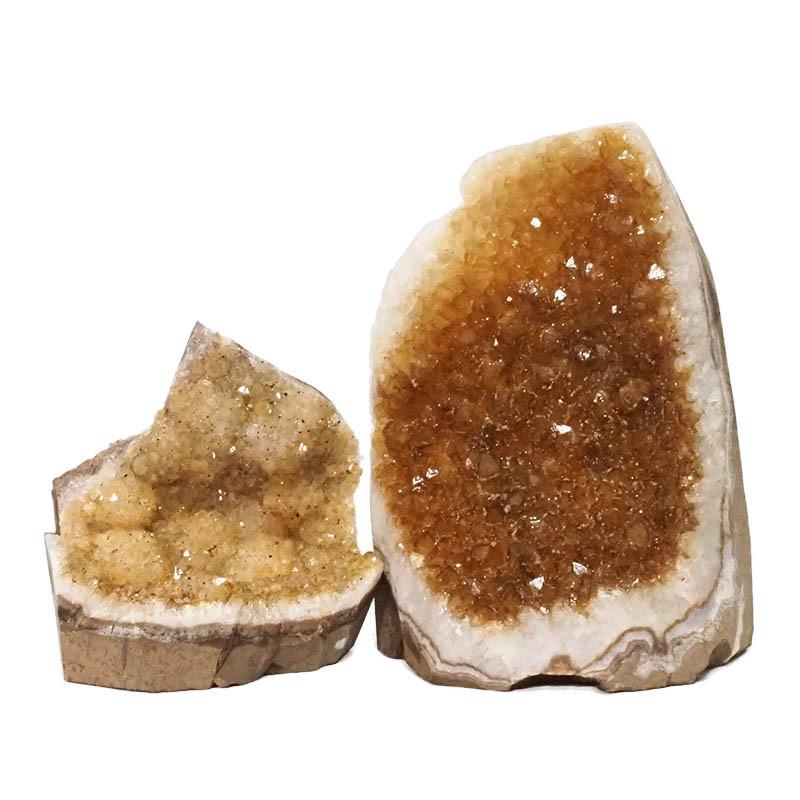 2.01kg Citrine Crystal Geode Specimen Set 2 Pieces DN238