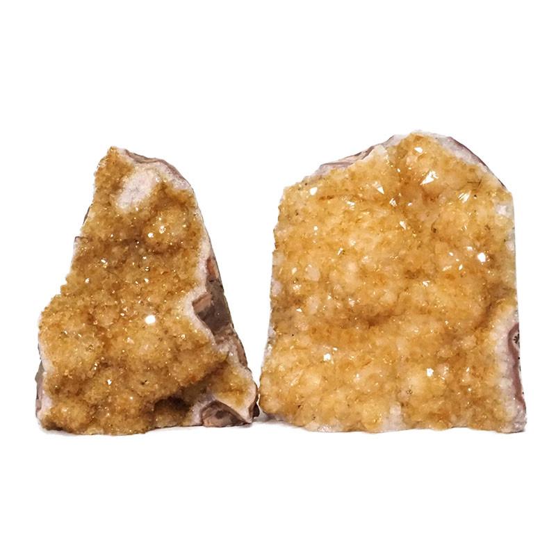 2.02kg Citrine Crystal Geode Specimen Set 2 Pieces DN241