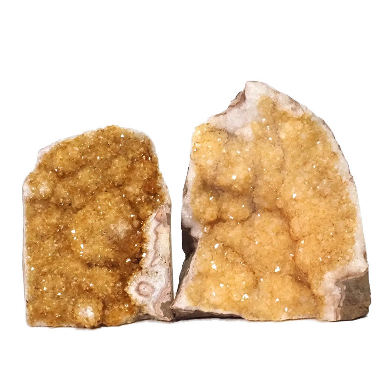1.87kg Citrine Crystal Geode Specimen Set 2 Pieces DN244