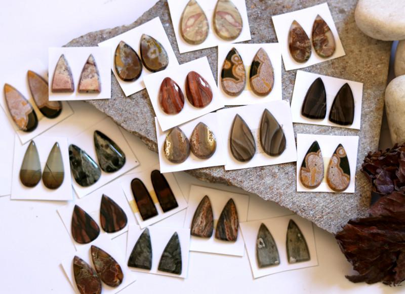 19  Pairs Jasper Gemstones CCC 1256