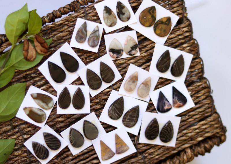 17 Pairs Mixed Jasper Gemstones CCC 1258