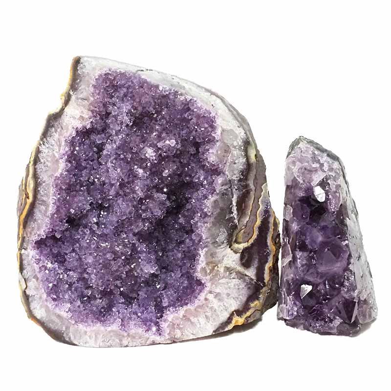 2.59kg Amethyst Polished Crystal Geode Specimen Set 2 Pieces DN431