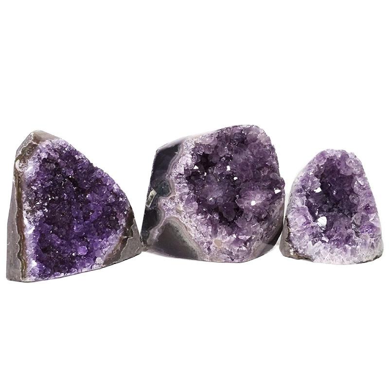 1.95kg Amethyst Polished Crystal Geode Specimen Set 3 Pieces DN437