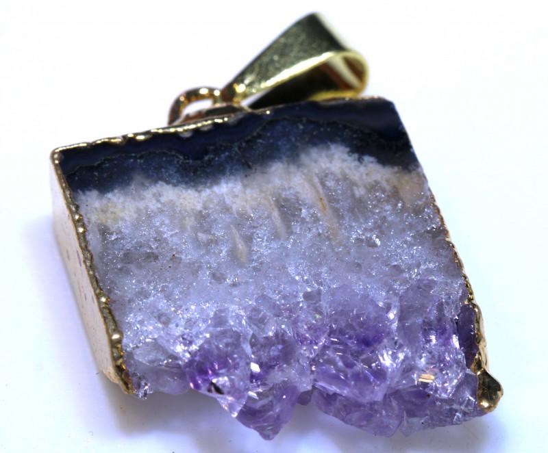 24.70-Cts Uruguay Amethyst Stalactite Pendant Rja-1667  rarejewelry