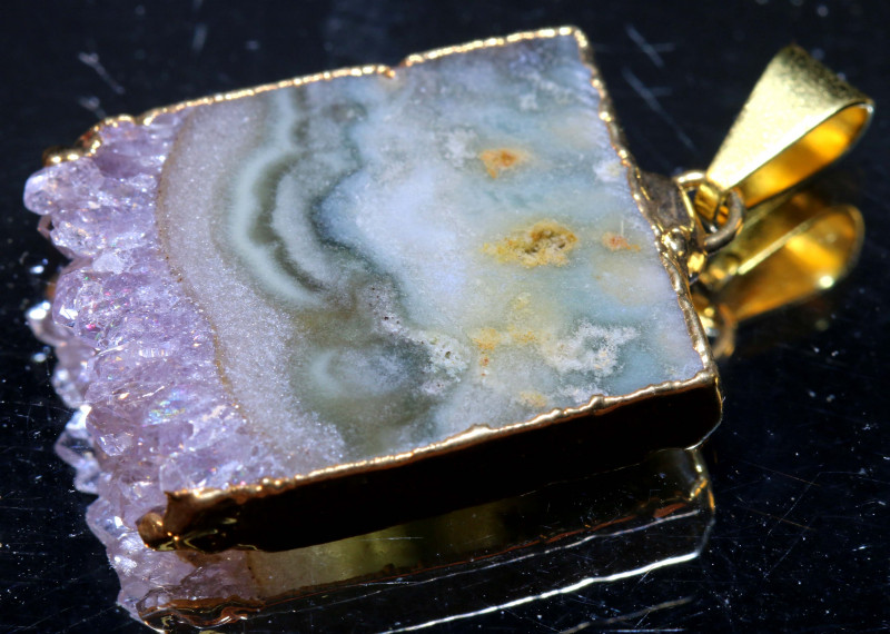 28-Cts Uruguay Amethyst Stalactite Pendant Rja-1669  rarejewelry