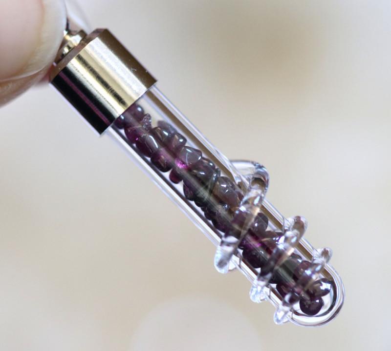 Stylish Garnet pendant on curb chain  code CH 1165