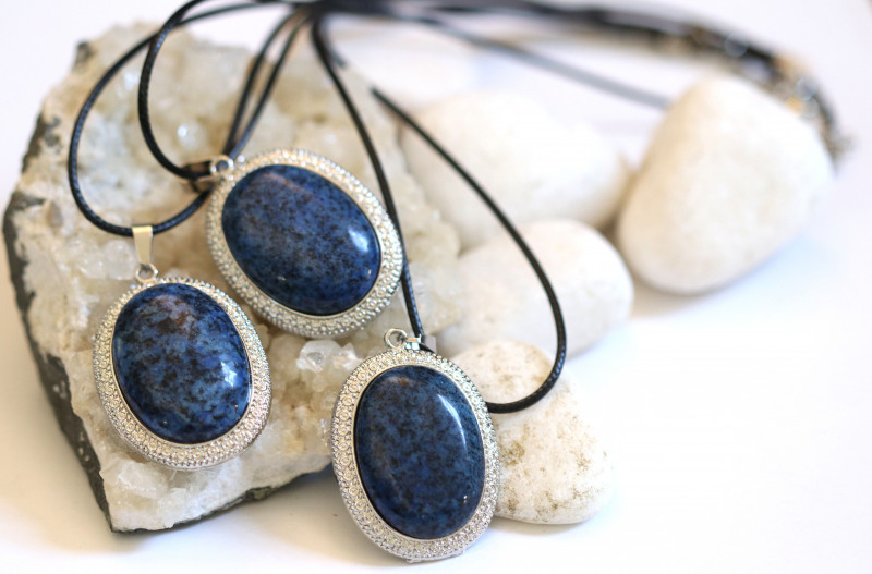 Three Blue  Brazil Agate on black necklace  code CH 1174