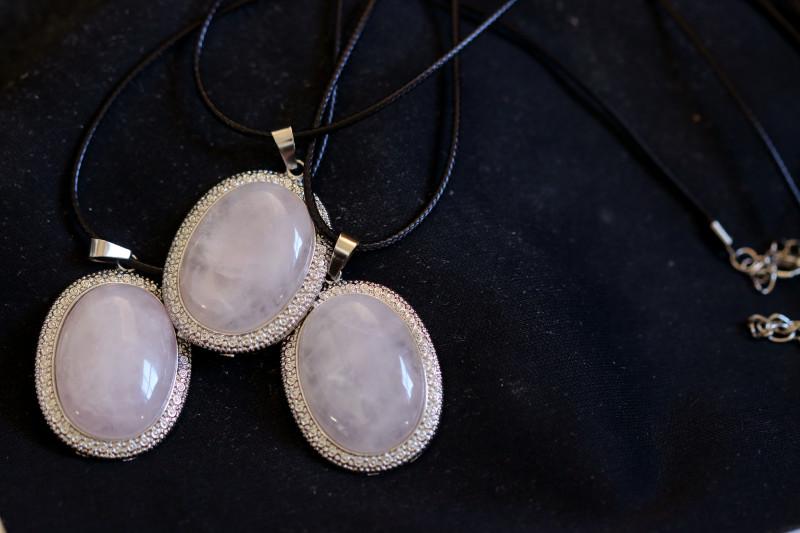 Three Rose Quartz on black necklace  code CH 1183