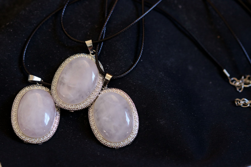 Three Rose Quartz on black necklace  code CH 1185