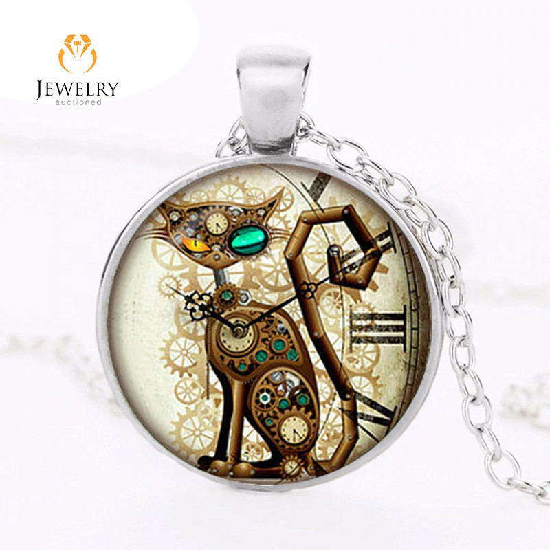 Steampunk Cat Pendant Steampunk Clock OPJ 2602