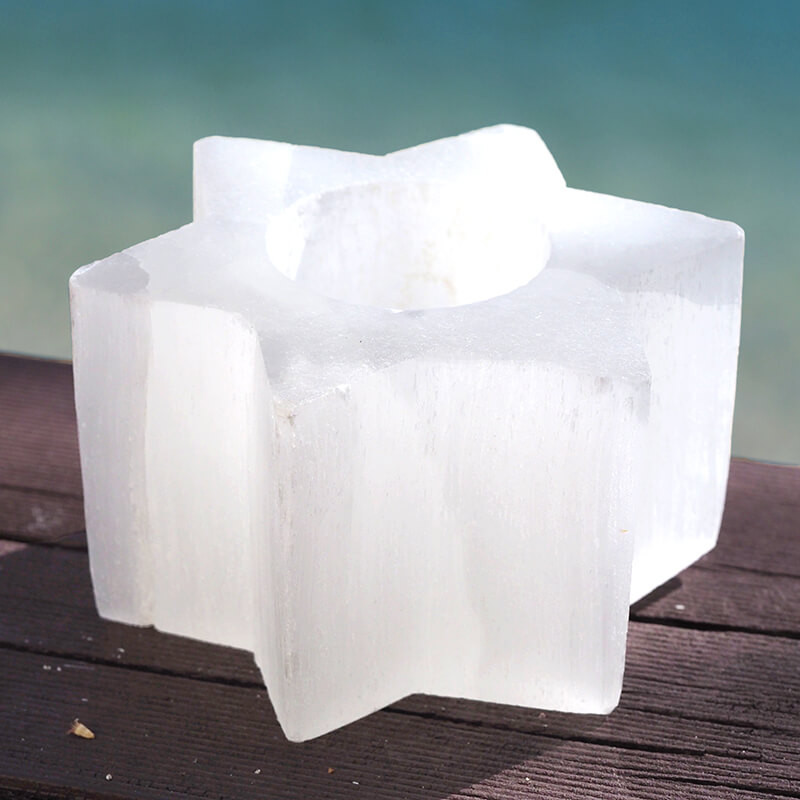 1 x Star Shaped Selenite Tealight Candle Holder