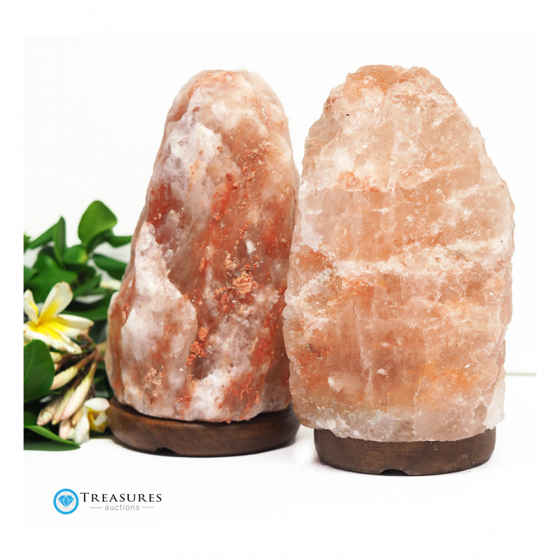 2 x 3-5kg Himalayan Salt Lamp Pack – Timber Base