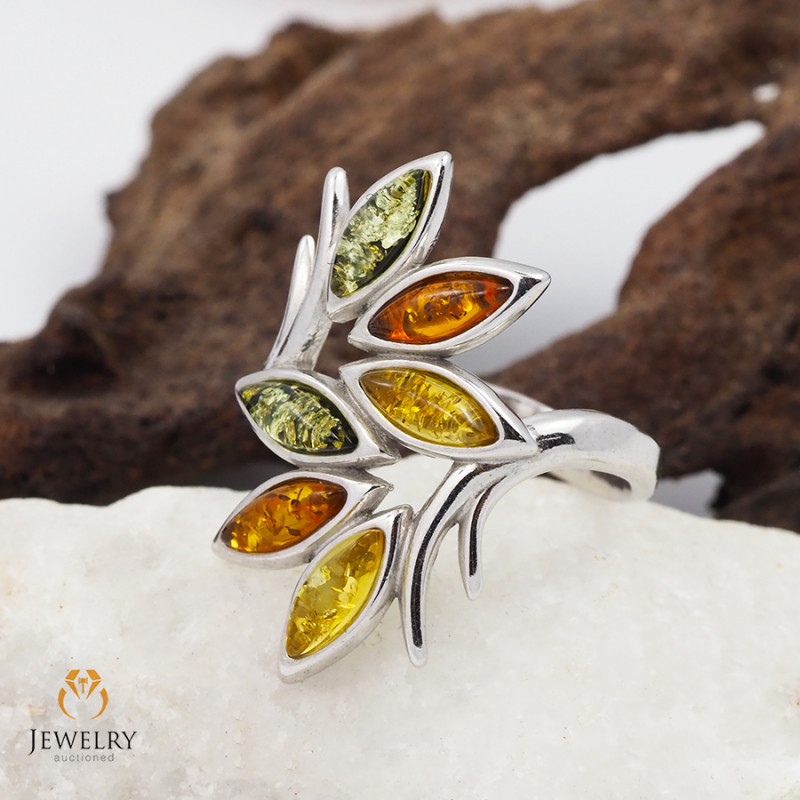 Baltic multi colour  Amber Sale, SilverRing Size  RN 167