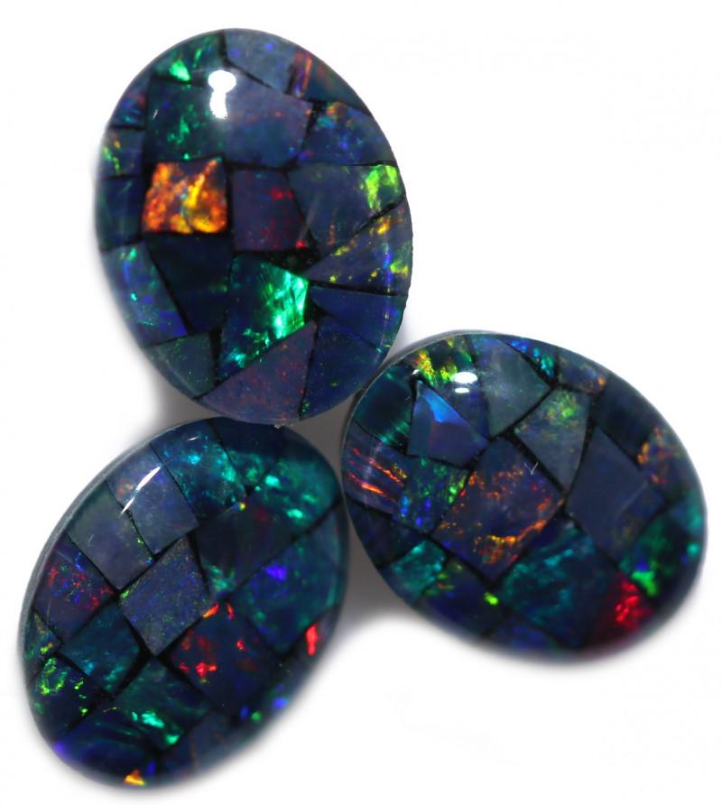 3 mosaic triplet opals  Bu 2595