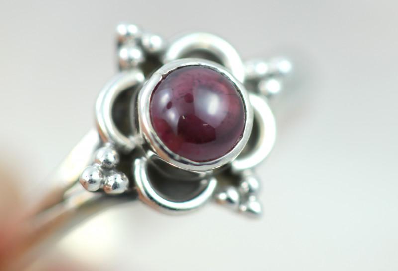 Natural Garnet Silver  Ring size    N-   BU  2598