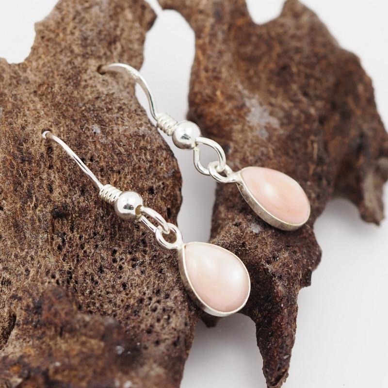 Sheppard hook Pink Pearl shell Silver Earrings, ,AM 1169