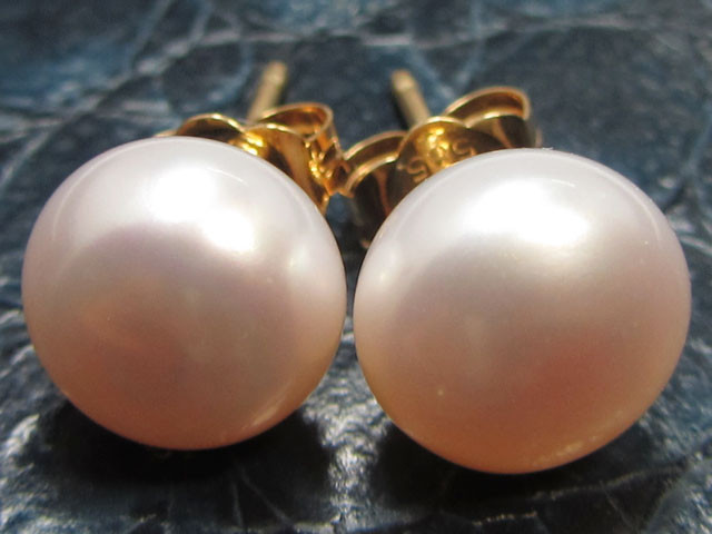 8-8.5 MM DIAM 14 K GOLD PINKISH PEARL EARRING STUD TP 20