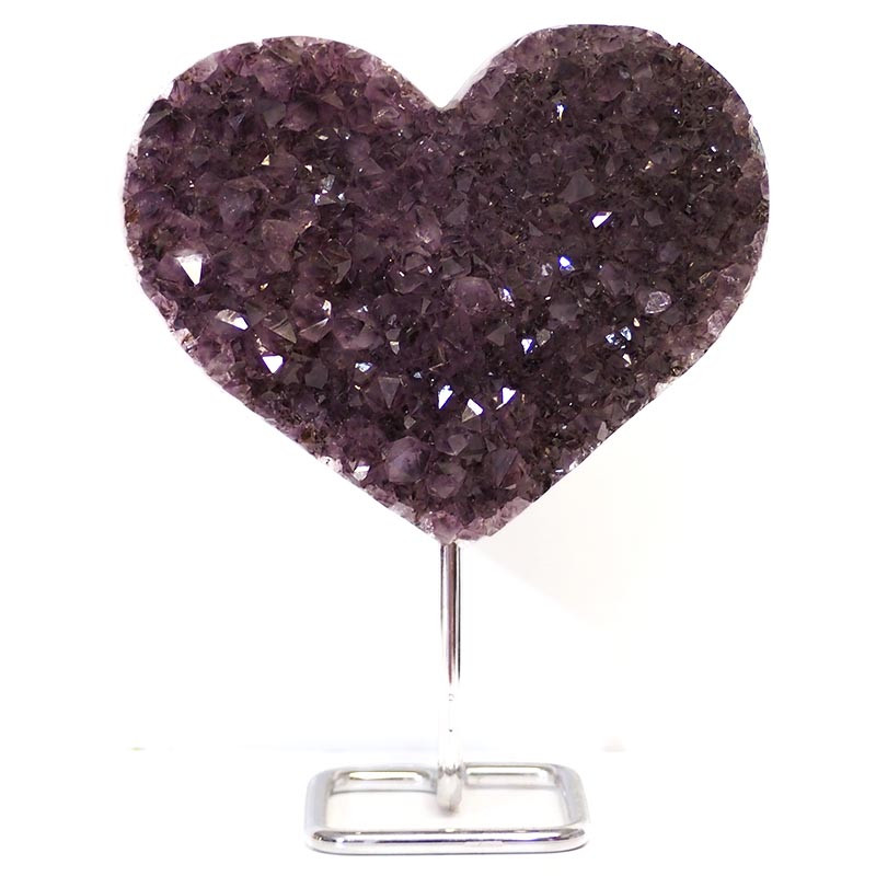 1.65kg Natural Amethyst Druze Heart on Stand DS54