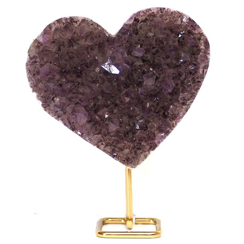 2.0kg Natural Amethyst Druze Heart on Stand DS56