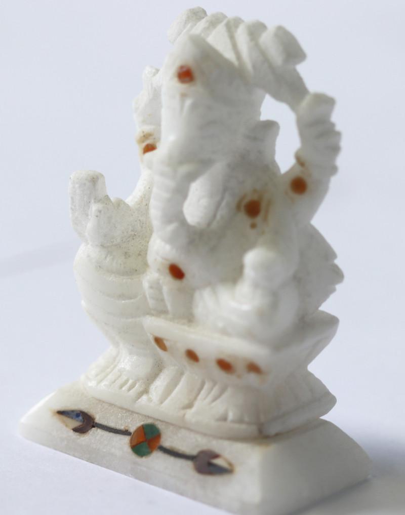Pietra Dura Inlay Marble Ganesa carving