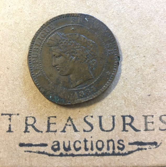 1884 France Republic  10 centimes Coin worn condition CP 362