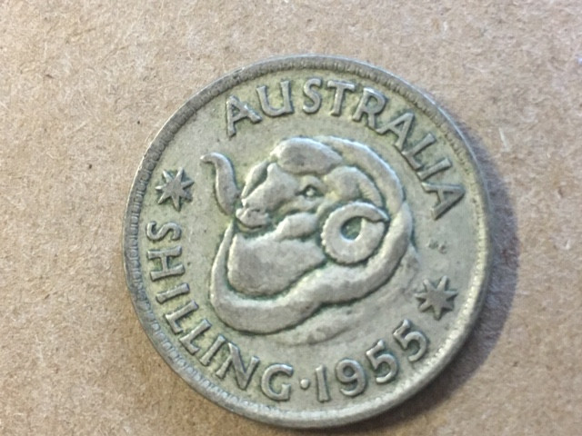 1955 one shilling  Silver Coin CP 415