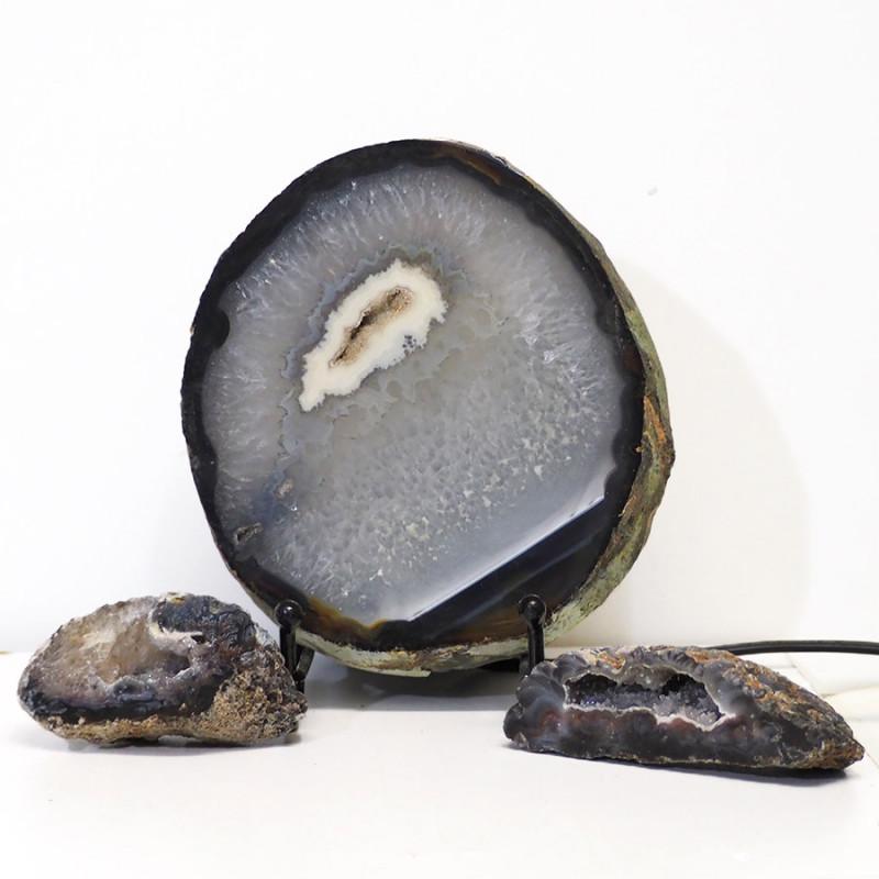 1.1kg Sliced Brazilian Crystal Agate Lamp with Crystal Specimen J100