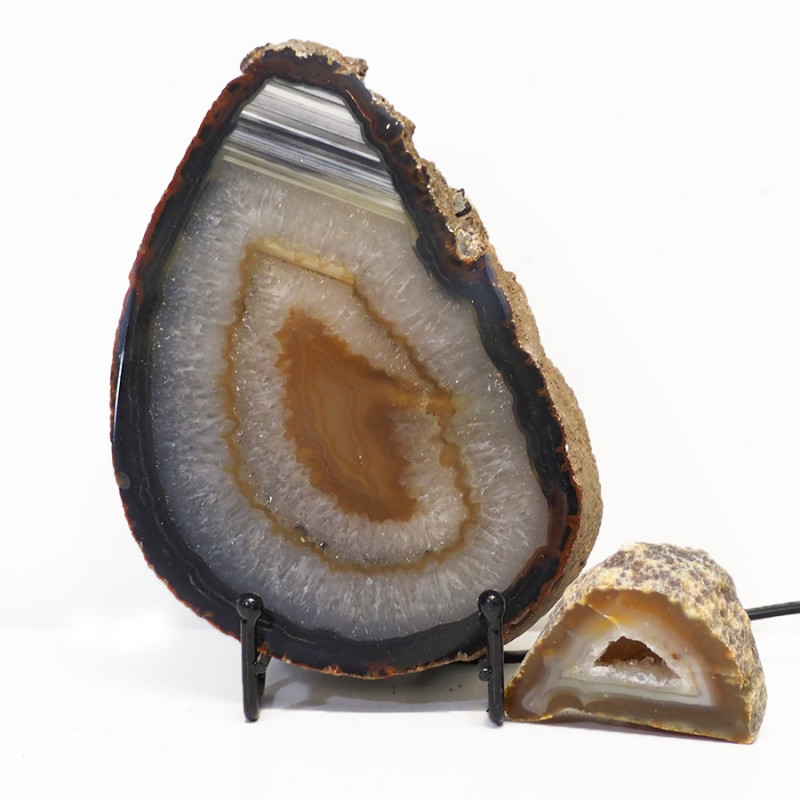 1.2kg Sliced Brazilian Crystal Agate Lamp with Crystal Specimen J107