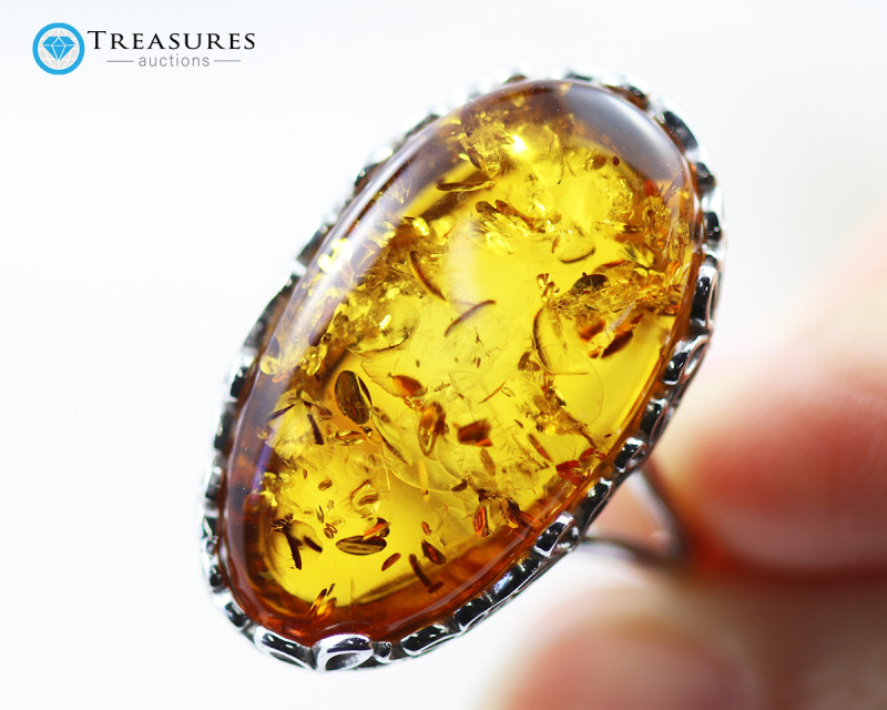 28Cts Baltic Amber Sale, Silver Ring - AM 1971
