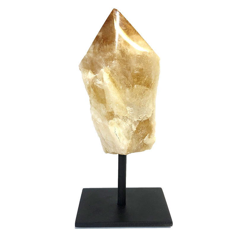 Citrine Crystal Point On Metal Stand