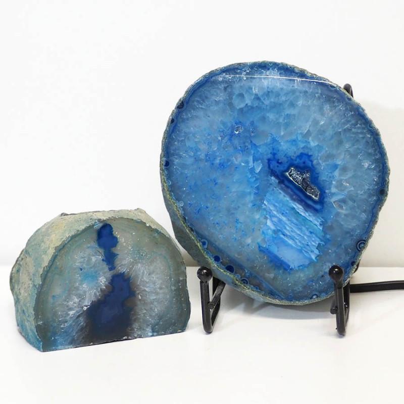 0.57kg Sliced Brazilian Crystal Agate Lamp&Tea Light Candle Holder J123