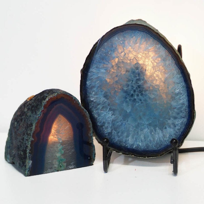 0.66kg Sliced Brazilian Crystal Agate Lamp&Tea Light Candle Holder J125