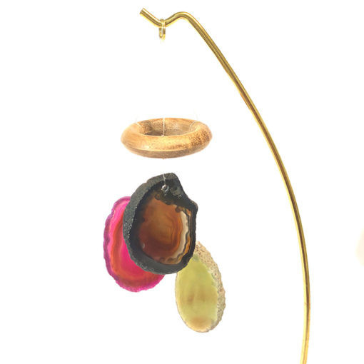 Mini Stand Rose Quartz With Colorful Agate Windchimes